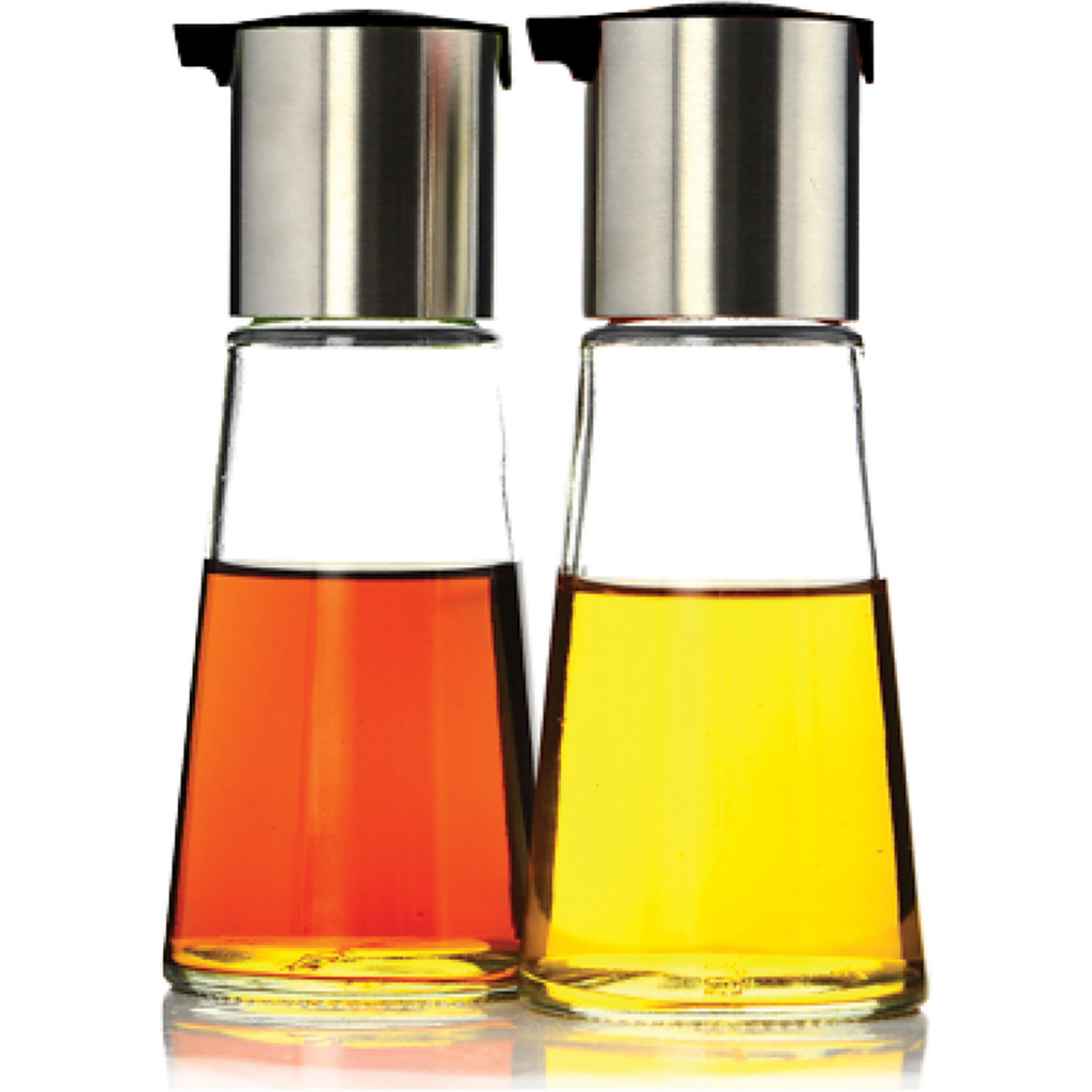 Glass Olive Oil & Vinegar Cruets - EZ-pour spout