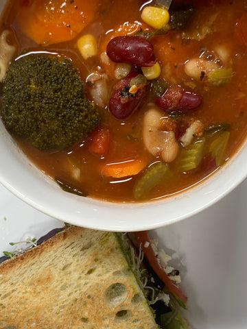 01/20/2021 - Ayurvedic Minestrone Soup served with Panini Sandwich