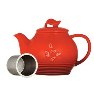 Red Dancing Leaves Teapot