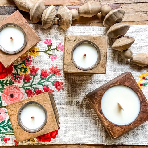 Wooden Cheese Mold Candles