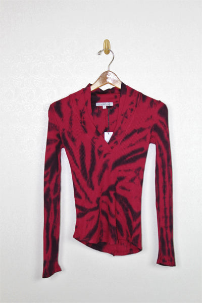Red Haute Double V Top