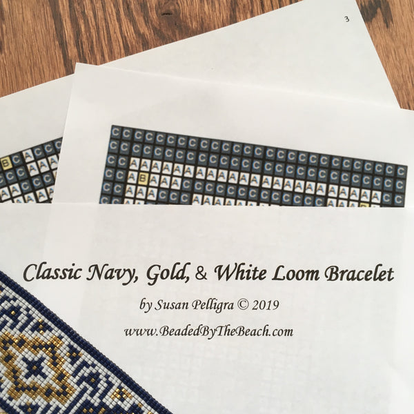 Classic Navy Gold White Bead Loom Pattern by Susan Pelligra Digital Down load PDF