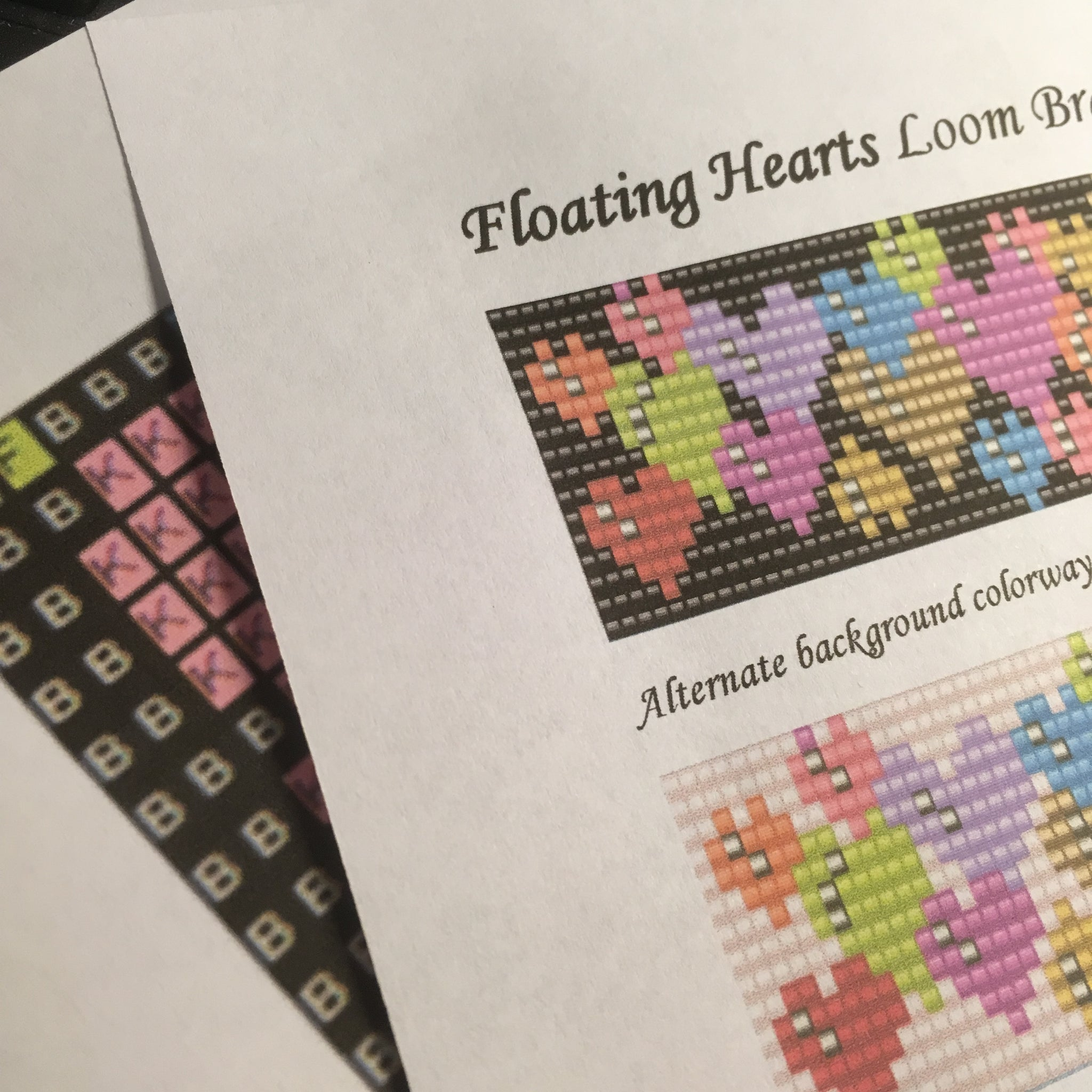 Floating Hearts Bead Loom Bracelet Pattern PDF by Susan Pelligra
