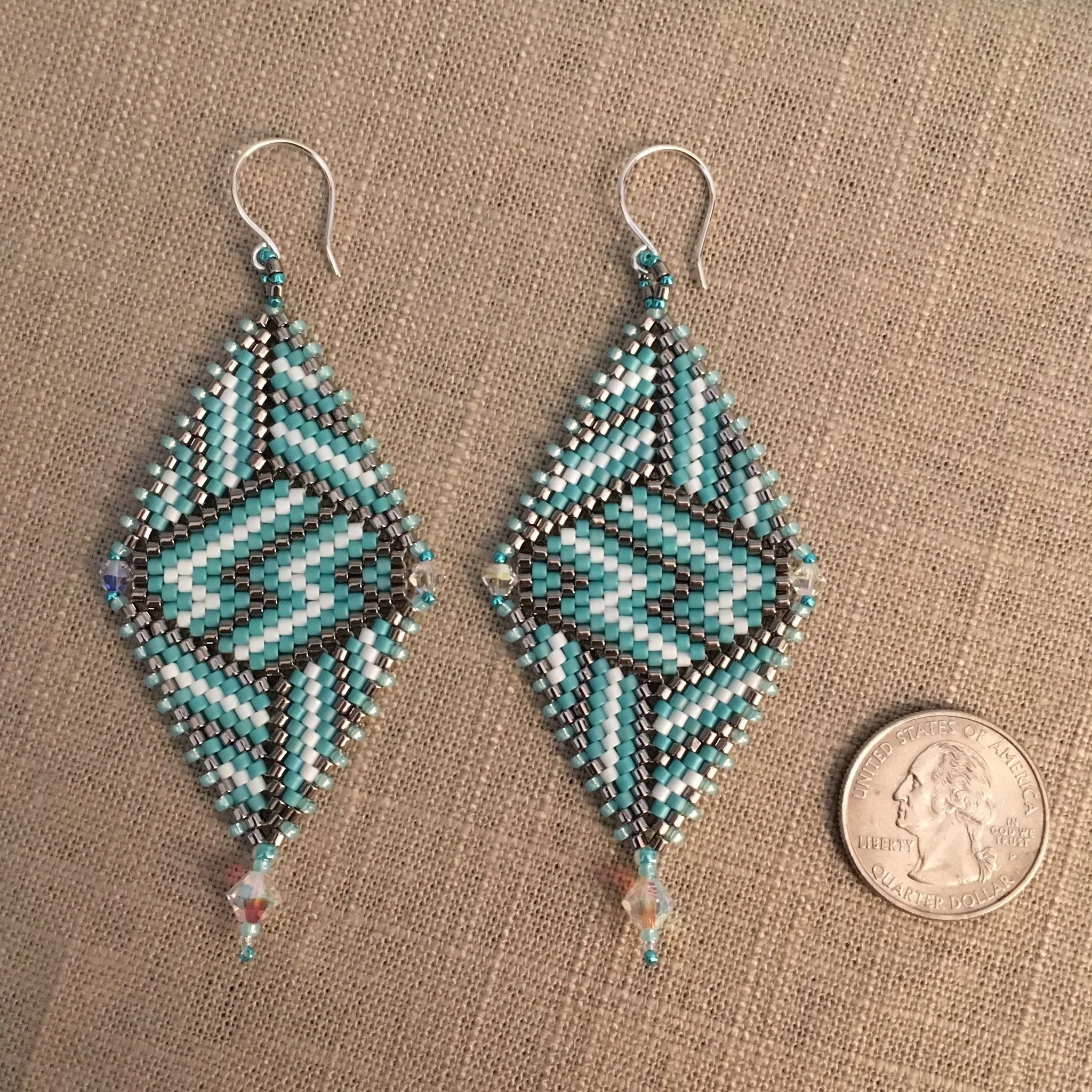 Long Turquoise and Silver Contemporary Geometric Earrings