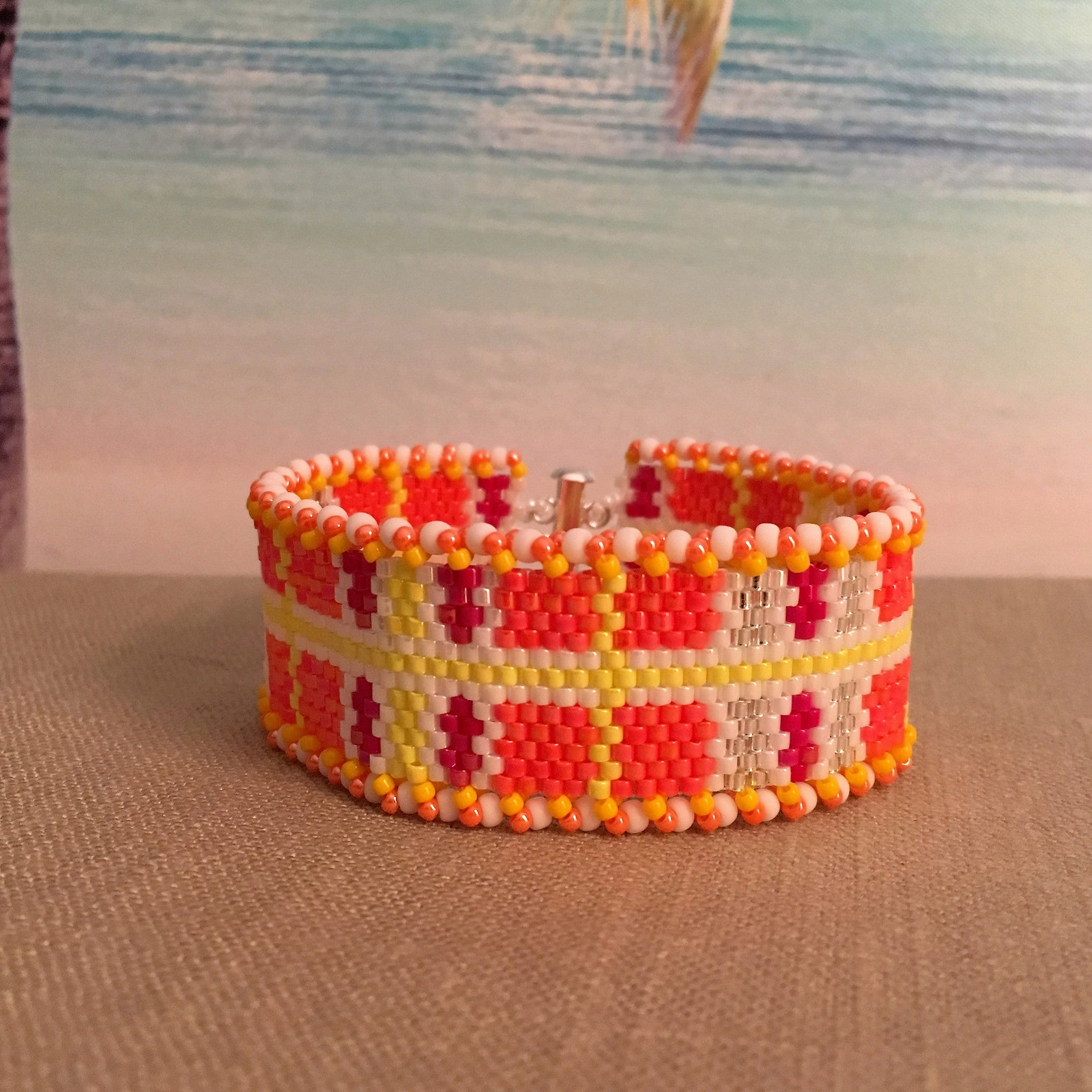 Orange, Red, Yellow, Silver and White Peyote Plaid Bracelet
