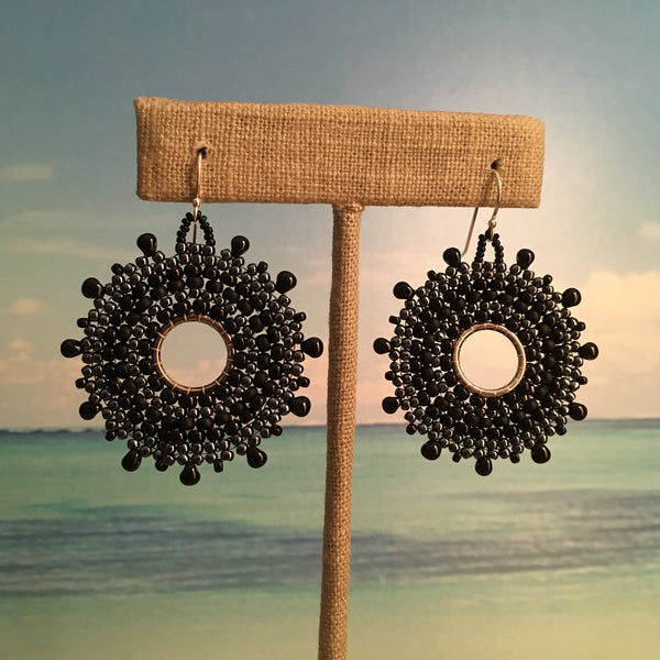 black beaded handmade earrings with sterling silver beach resort ready beaded by the beach