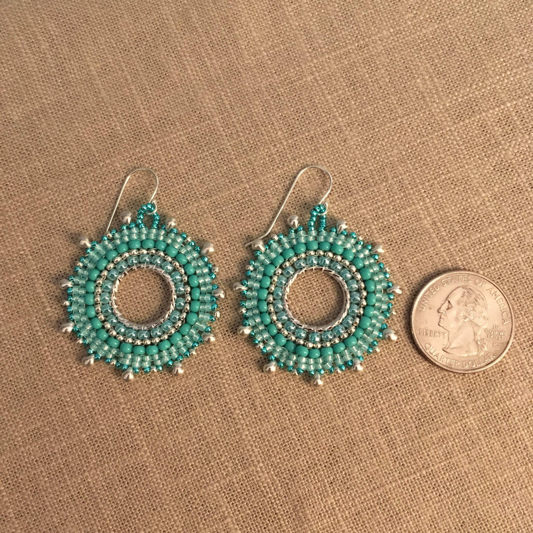 Turquoise and Silver Sunburst Earrings