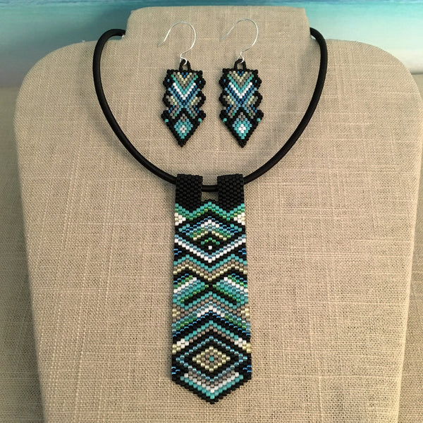 Peyote Pendant and Earring Set in Greens, Blues, Black and Silver
