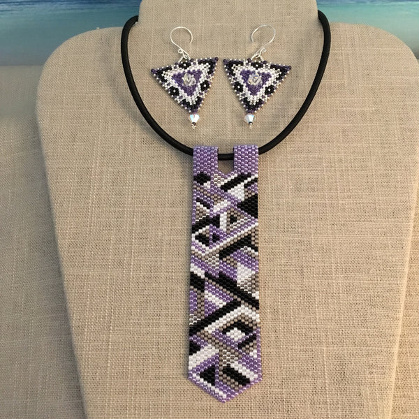 Purple Geometric Peyote Pendant and Earring Set