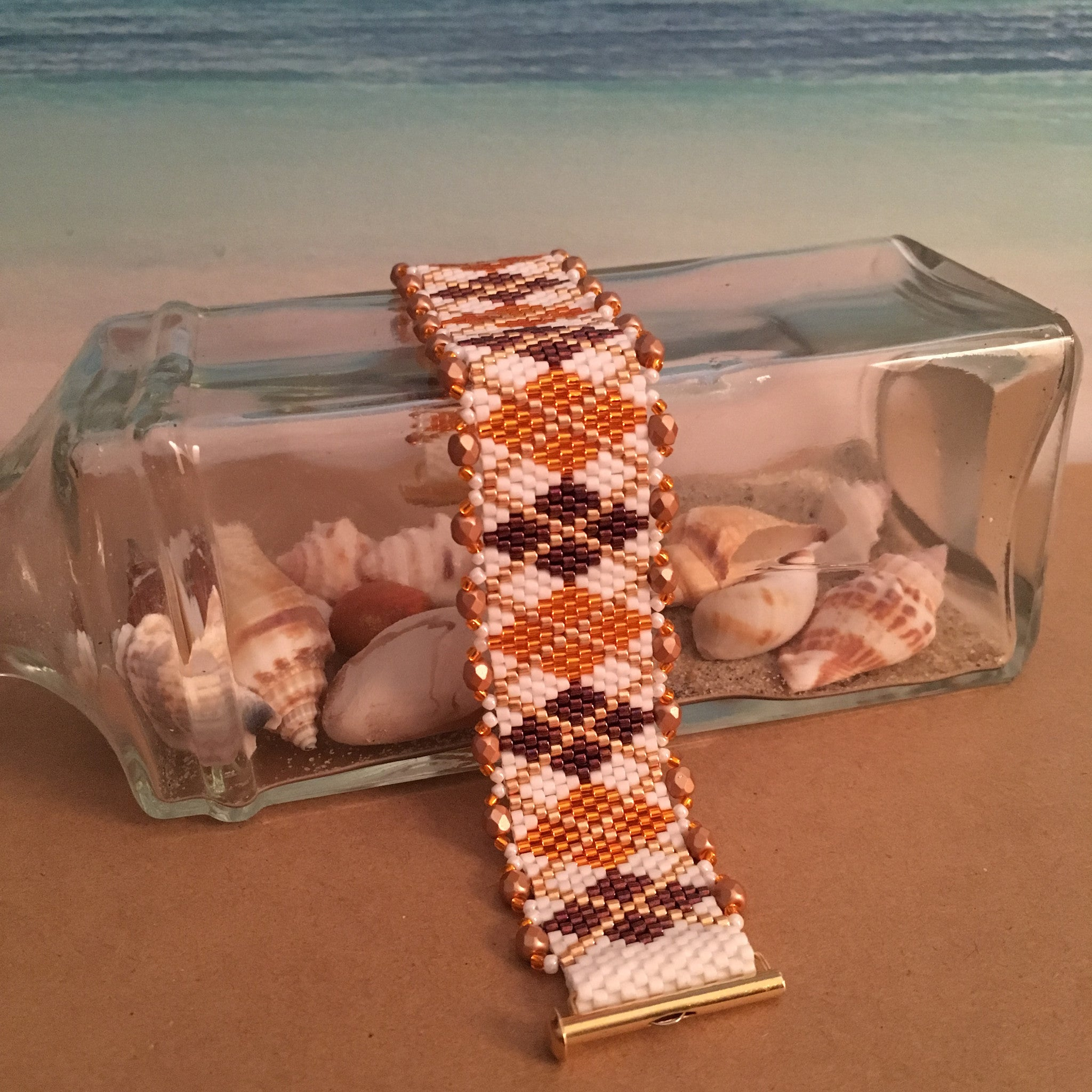 Virginia Tech Maroon Orange White and Gold Classic Argyle Bracelet