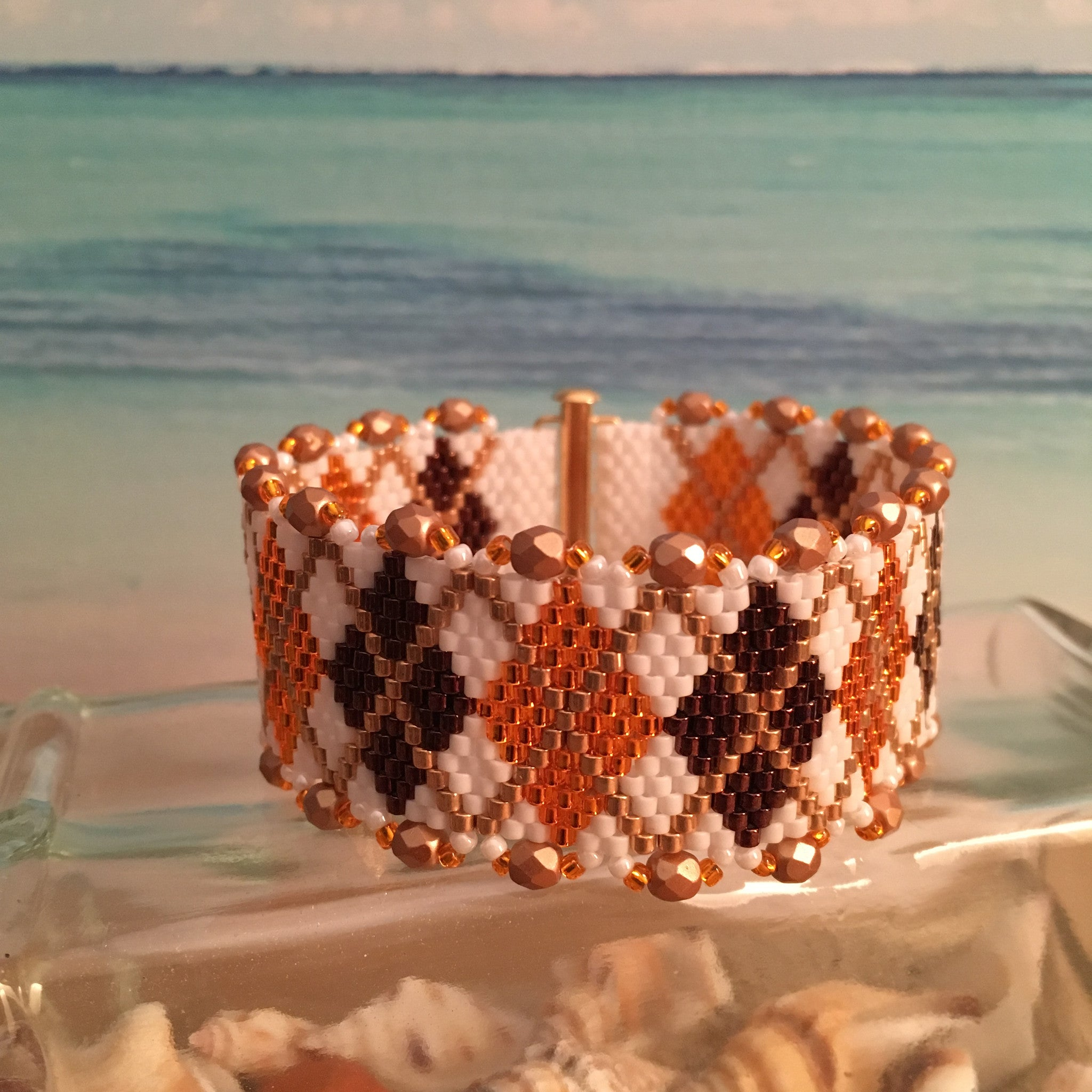 Virginia Tech Hokies colors Classic Argyle handmade beaded bracelet customizable size Beaded By The Beach
