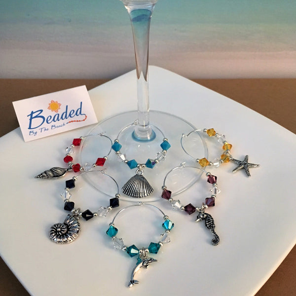 Sea Life Wine Glass Marker Charms with Swarovski™ Crystals