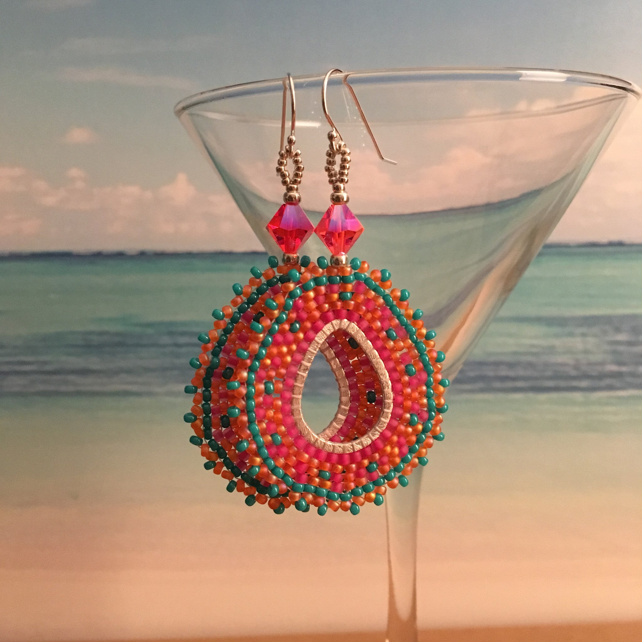 Coral Pink Turquoise handmade beaded Swarovski Crystals earrings Sterling silver bridal prom elegant boho beaded by the beach