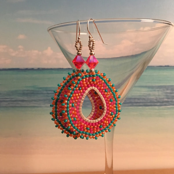 Coral Pink Turquoise handmade beaded Swarovski Crystals earrings Sterling silver bridal prom elegant boho