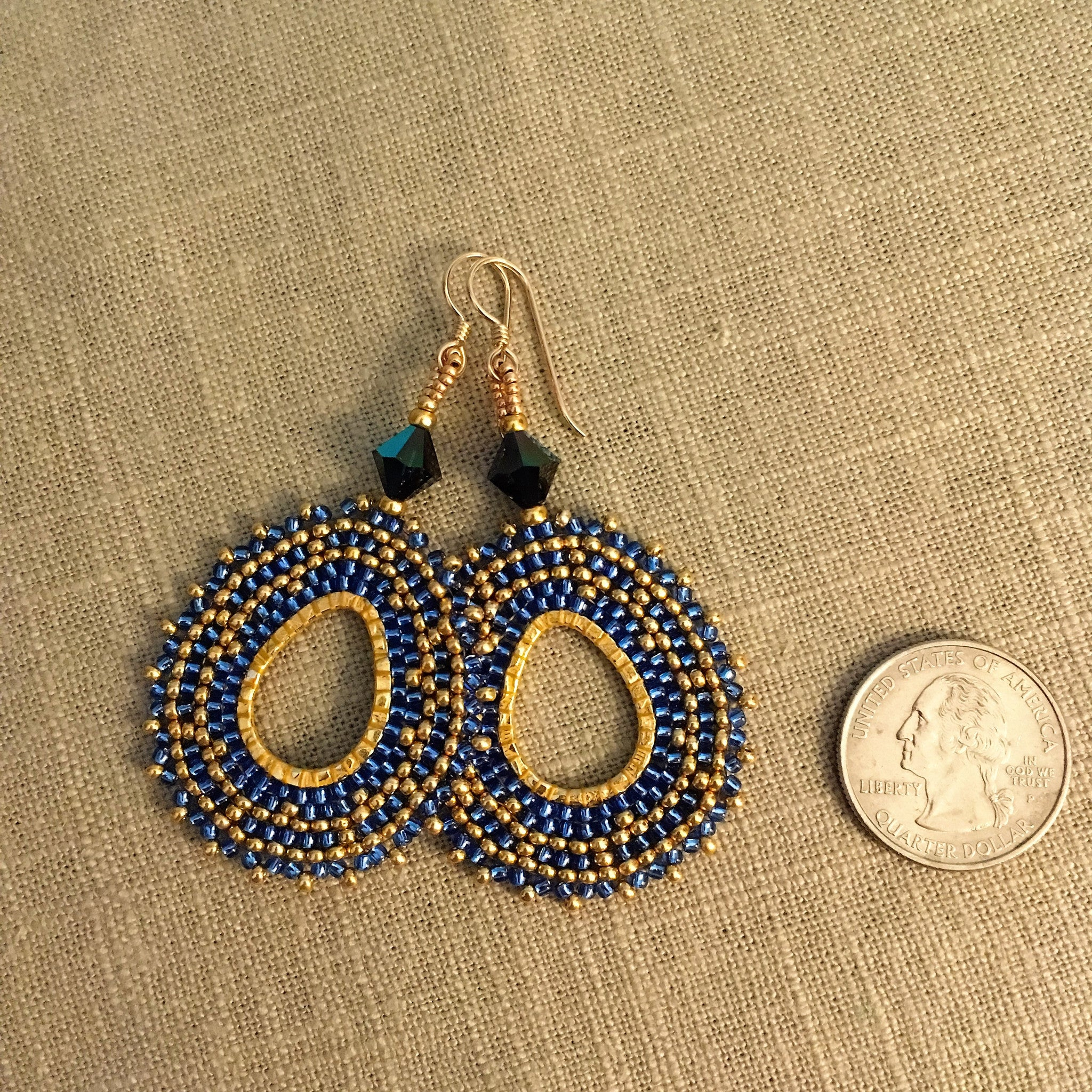 Blue and Gold Oval Hoop Earrings with Swarovski™ Crystals