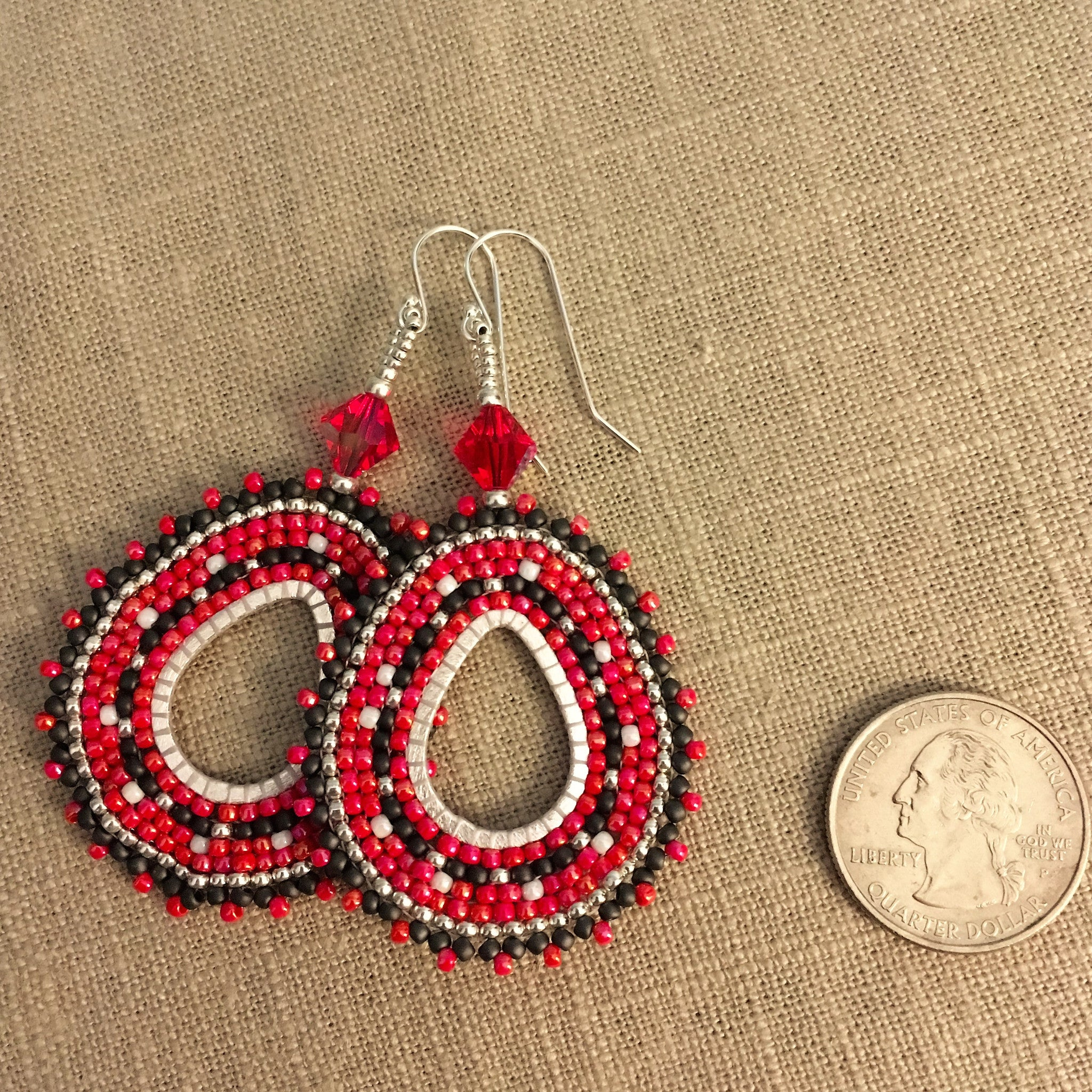Red, Black, White and Silver Beaded Oval Hoop Earrings with Swarovski™ Crystals