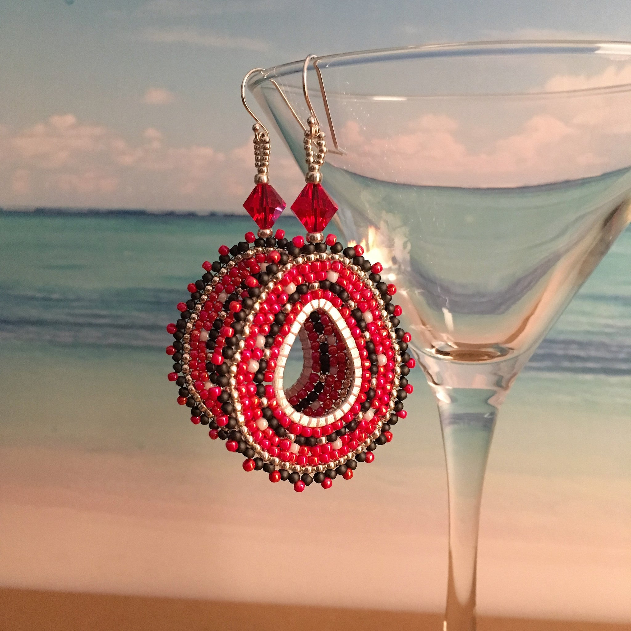 Rutgers Red Black White Silver beaded custom earrings made in New Jersey
