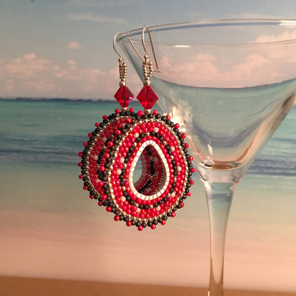 Rutgers Red Black White Silver beaded custom earrings made in New Jersey Swarovski crystals oval hoops prom bridal