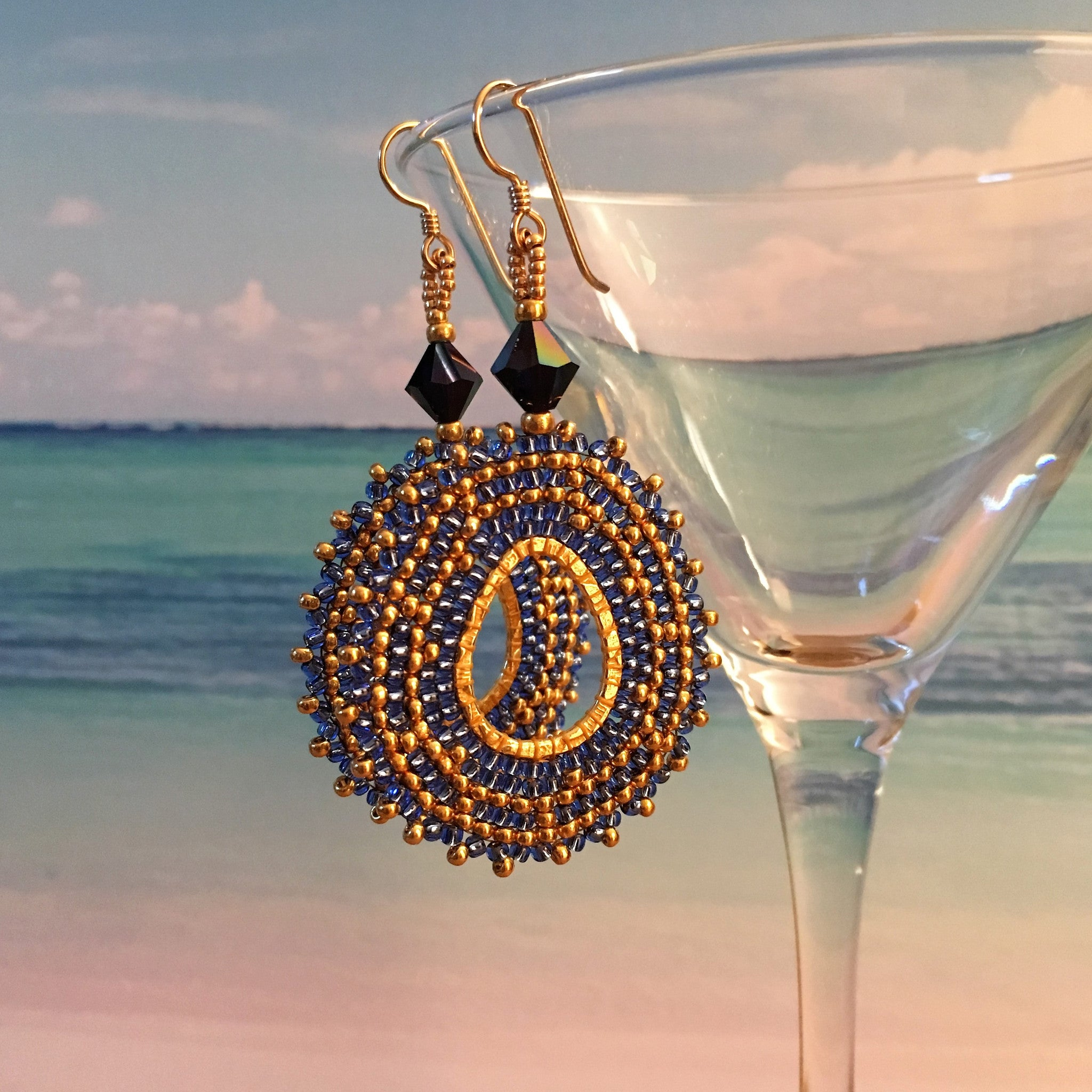 Handmade beaded oval earrings blue gold Swarovski crystal 14K gold filled long lightweight elegant bridal party Beaded by the Beach