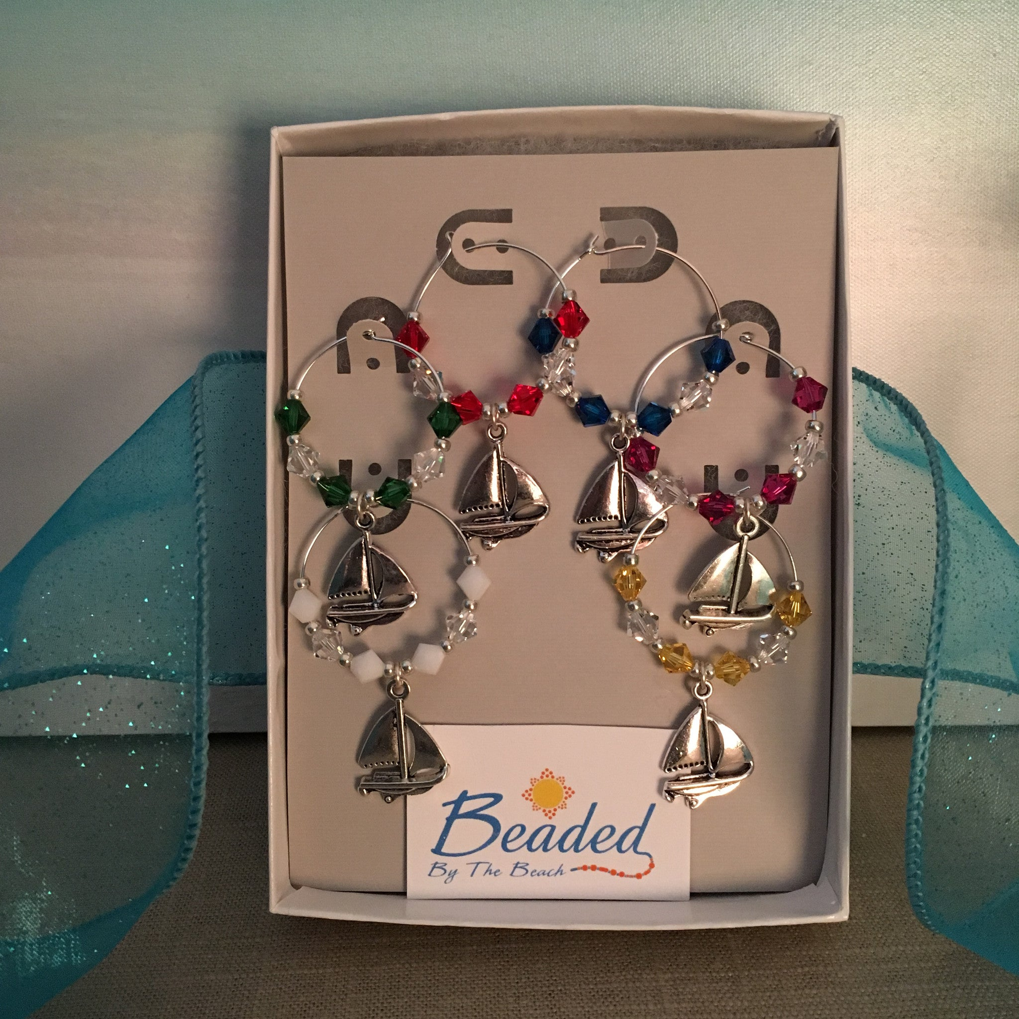 Sailboat Wine Glass Marker Charms with Swarovski™ Crystals