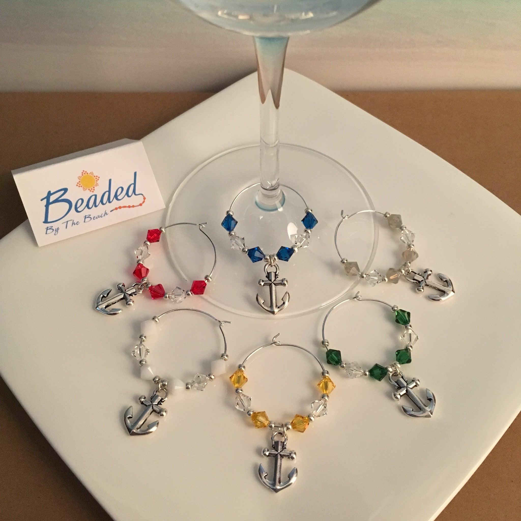 Anchor Wine Glass Marker Charms with Swarovski™ Crystals