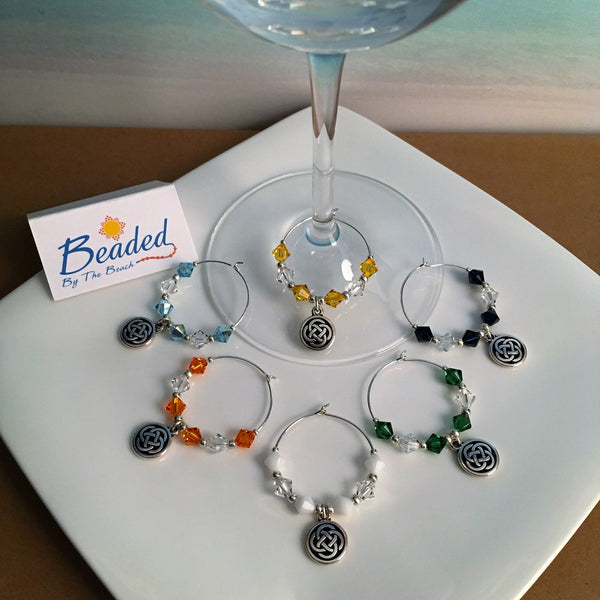 Celtic Infinity Love knot charm wineglass markers Swarovski crystals
