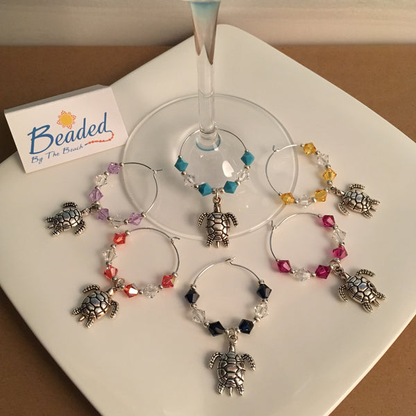 Sea Turtle Wine Glass Marker Charms with Swarovski™ Crystals