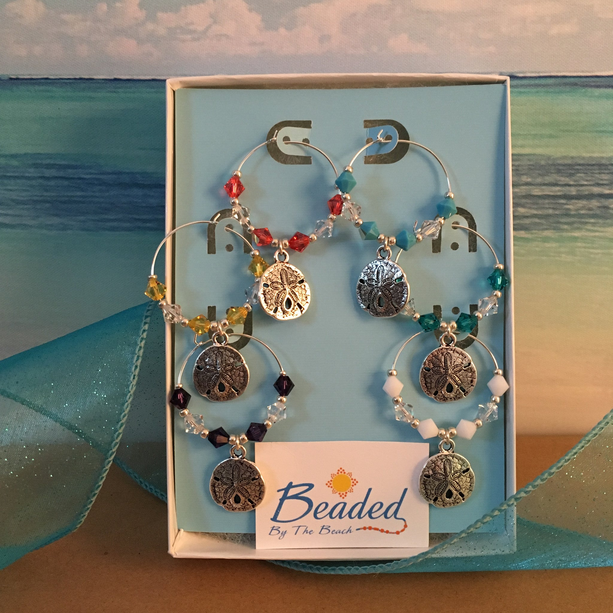 Sand Dollar Wine Glass Marker Charms with Swarovski™ Crystals