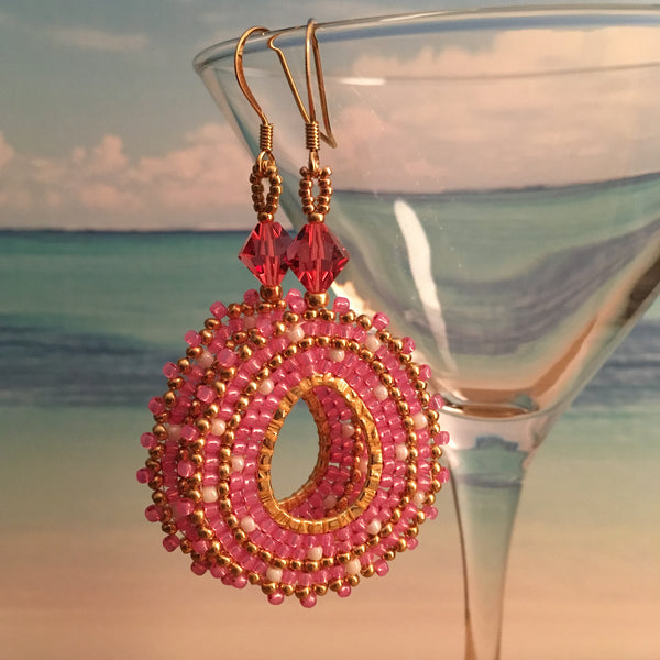 Hot Pink and Gold Oval Hoop Earrings with Swarovski™ Crystals