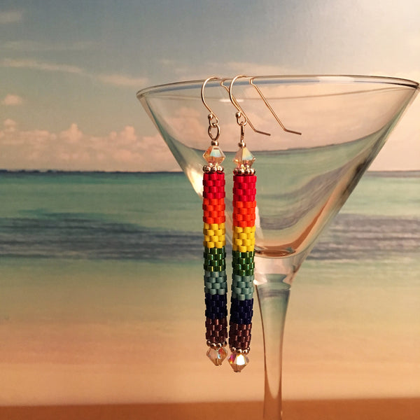 Rainbow ROY G Biv Science geek Beaded handmade long earrings Big Bang Theory  sterling silver