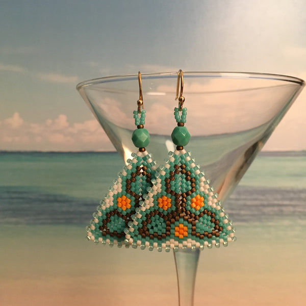 Beaded triangle modern flower leaf earrings handmade geometric turquoise Beaded By The Beach