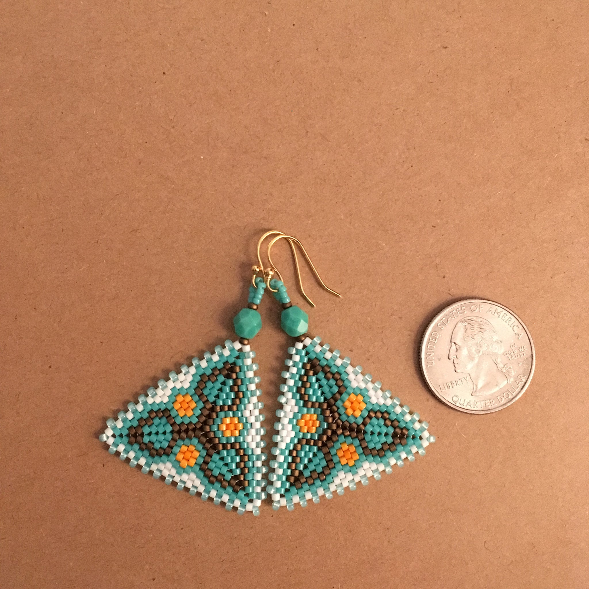 Turquoise Flower and Leaf Earrings in a Peyote Triangle