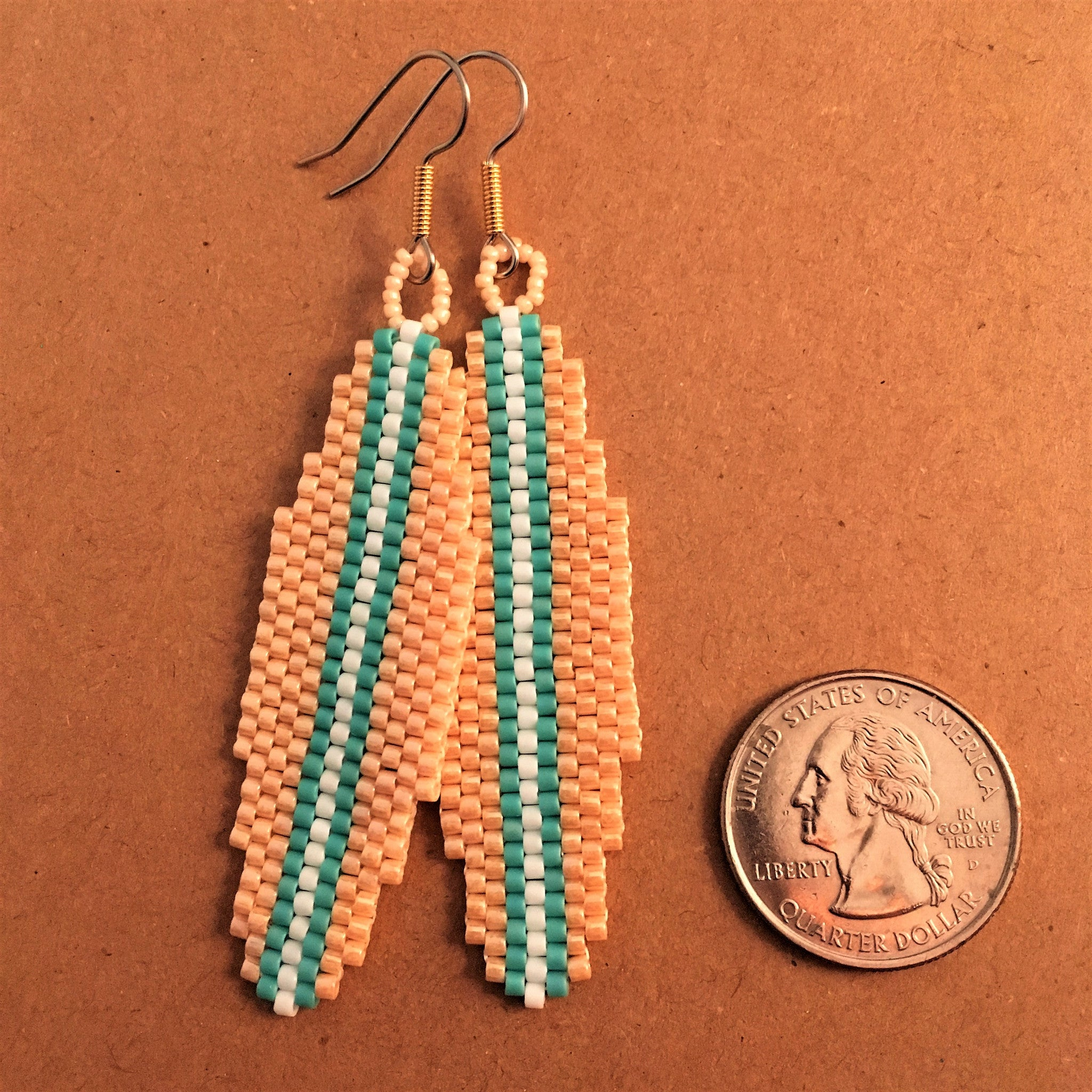 Surfboard Earrings in Beige, Turquoise and White