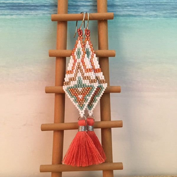 coral tassel beaded earring handmade beachy duster length