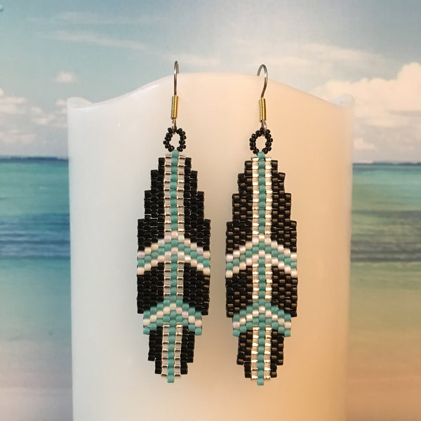Surfboard beaded earrings handmade boho black turquoise silver beachy fun surf style beaded by the beach