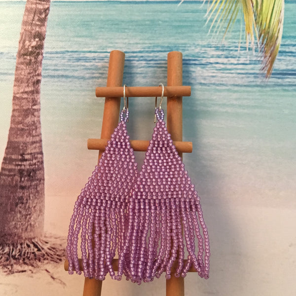 handmade beaded tassel purple lilac violet earrings beach long summer