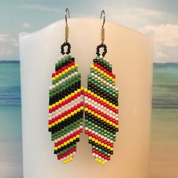 Surfboard earrings handmade beaded Rasta colors beachy fun style ocean Beaded By The Beach