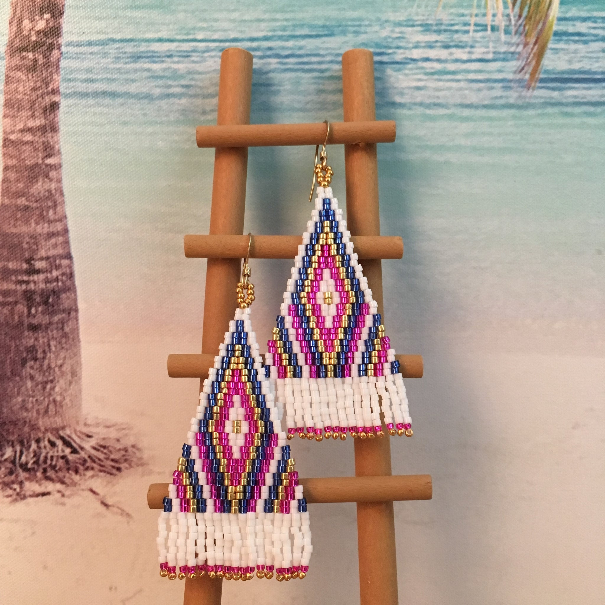 Handmade beaded tassel earrings pink purple blue white gold beachy long