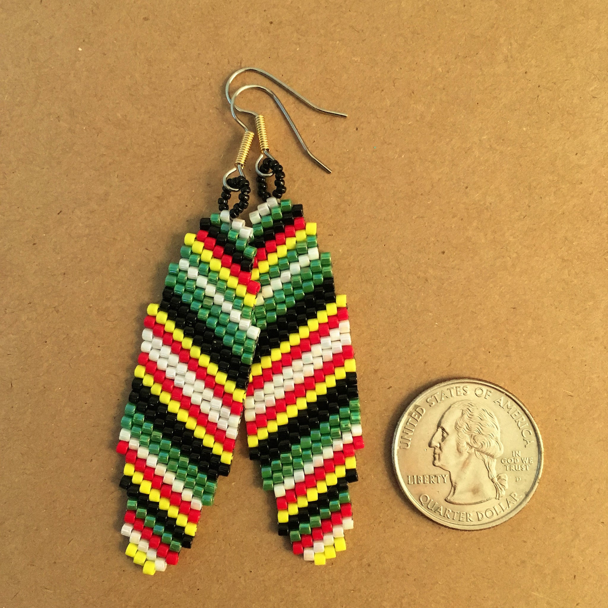 Surfboard Earrings in Green Black Red Yellow and White