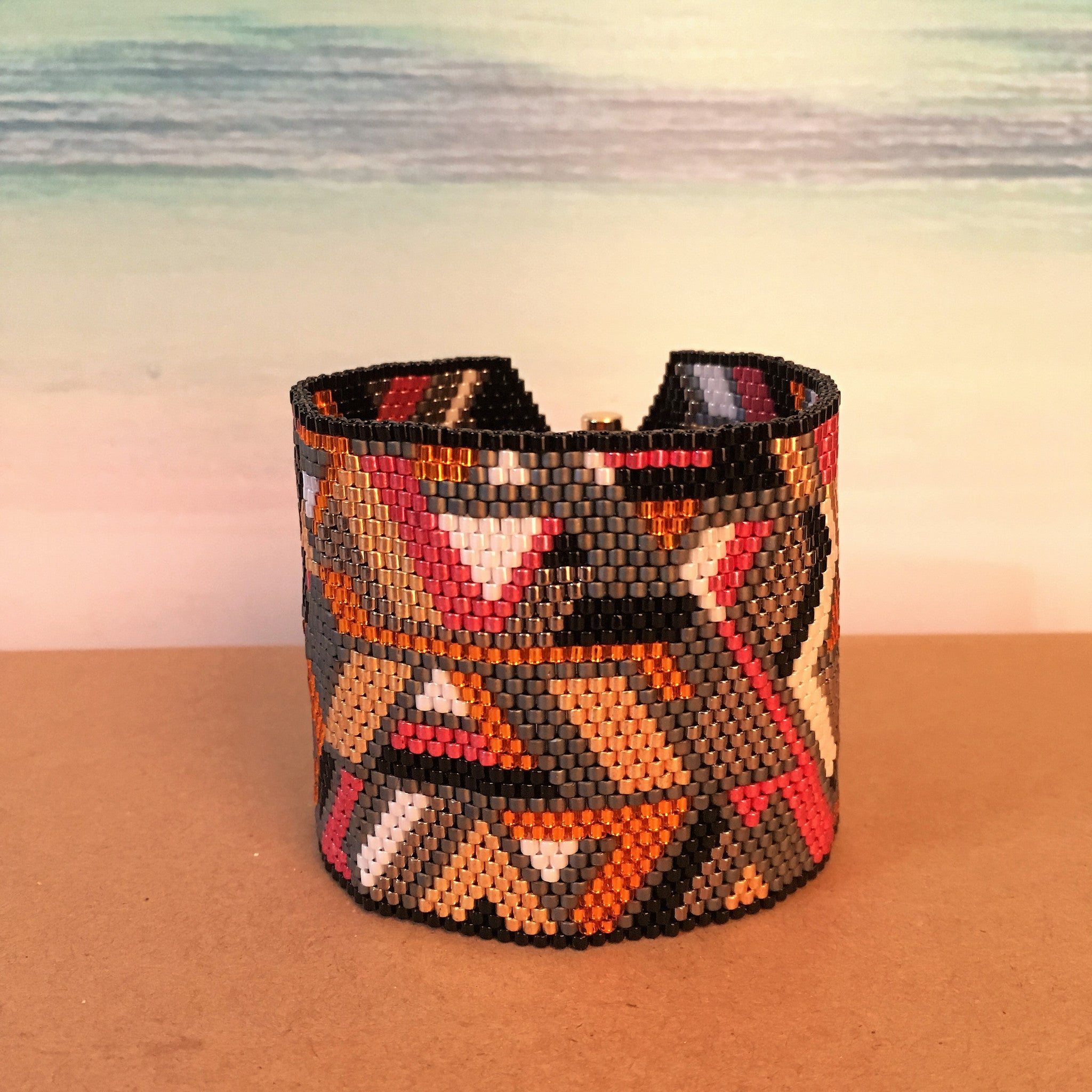Abstract Angles and Cubes Wide Peyote Bracelet