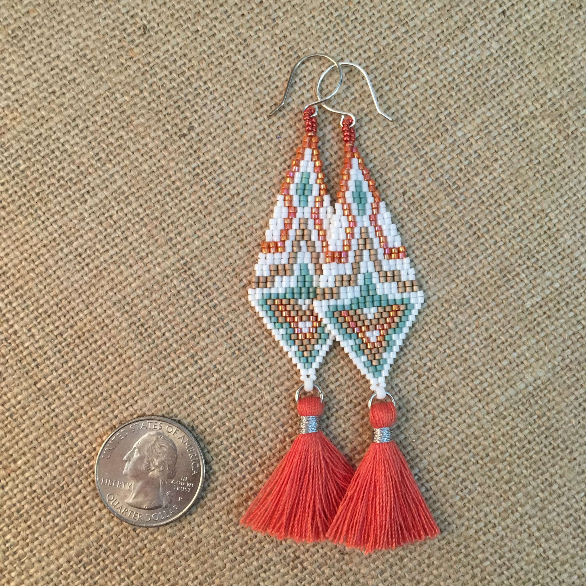 Beaded Long Tassel Earrings in Coral, Turquoise and White
