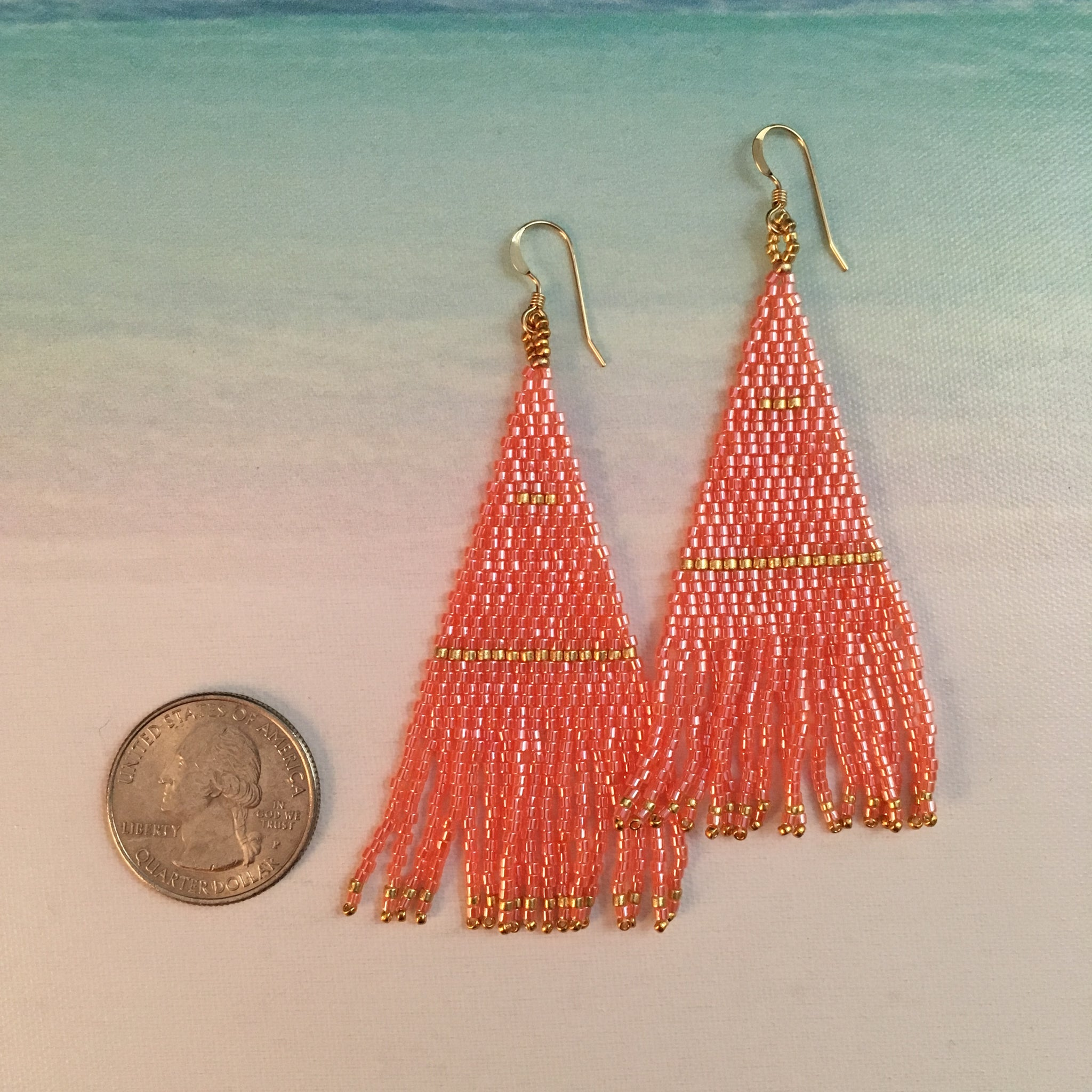 Beaded Tassel Fringe Earrings in Coral Peach and Gold