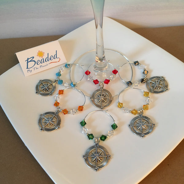 Nautical Compass Wine Glass Markers with Swarovski™ Crystals