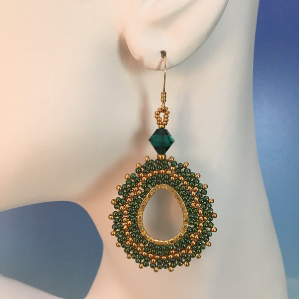 Handmaded beaded oval earrings emerald green and gold Swarovski crystals original lightweight design elegant bridal party prom