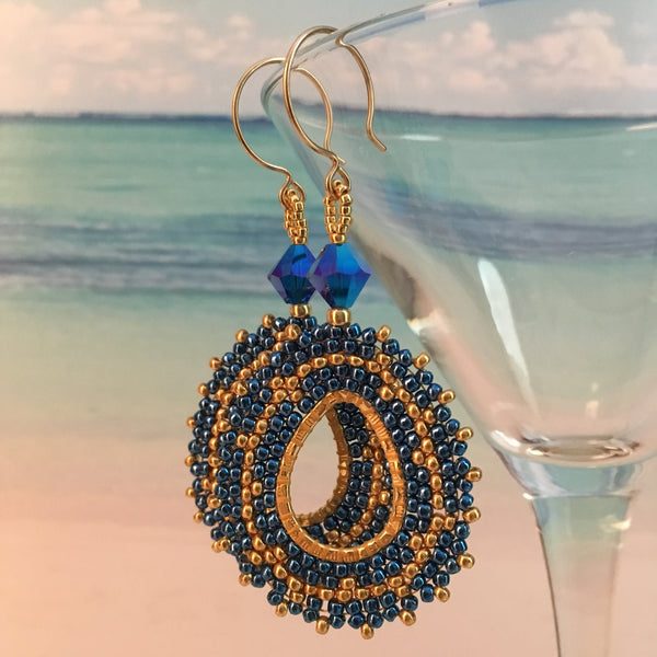 Handmade beaded oval earrings Swarovski crystals Capri blue gold 14K gold filled original design elegant bridal party prom beaded by the beach