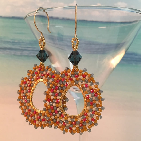 Boho Yellow, Blue, Red and White Oval Hoops with Swarovski™ Crystals
