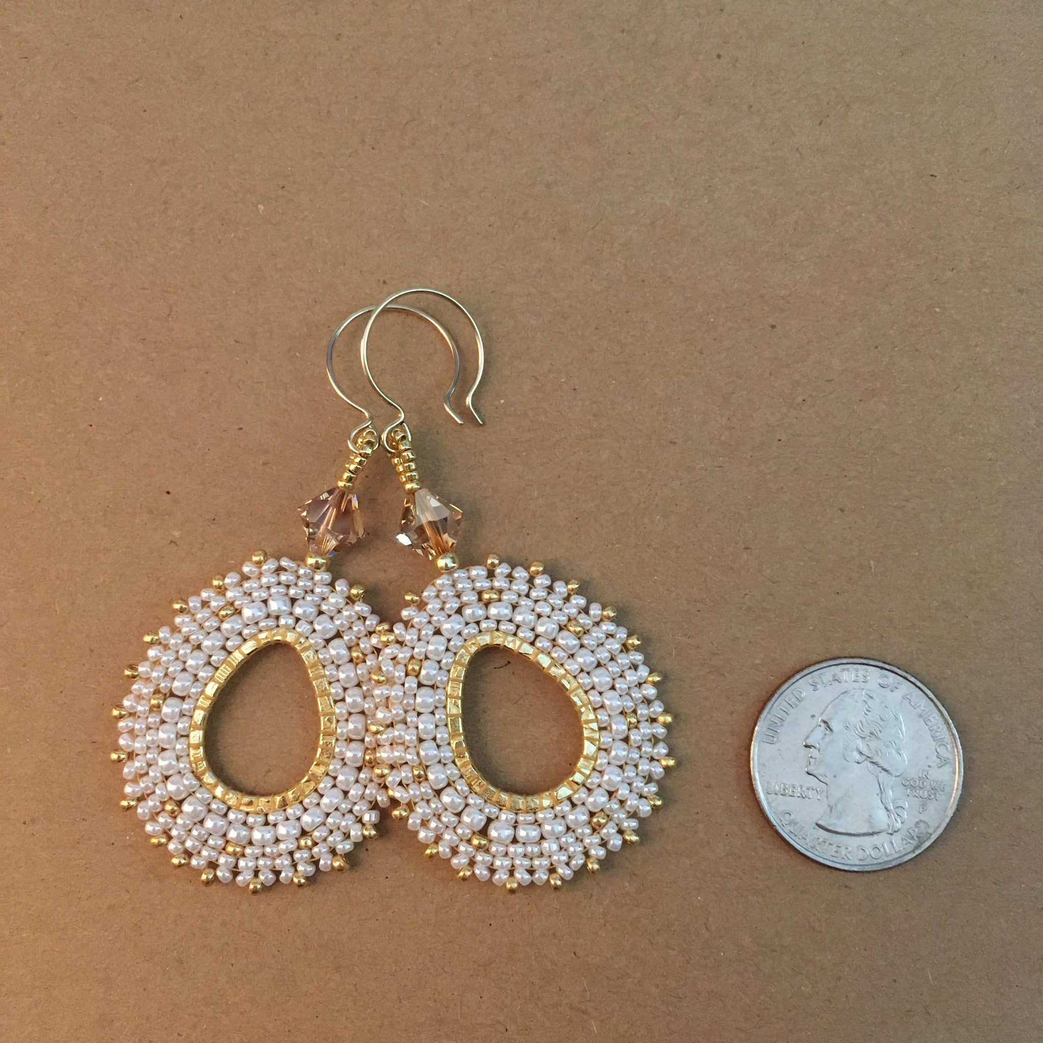 Pearly White and Gold Oval Hoop Beaded Earrings with Swarovski™ Crystals