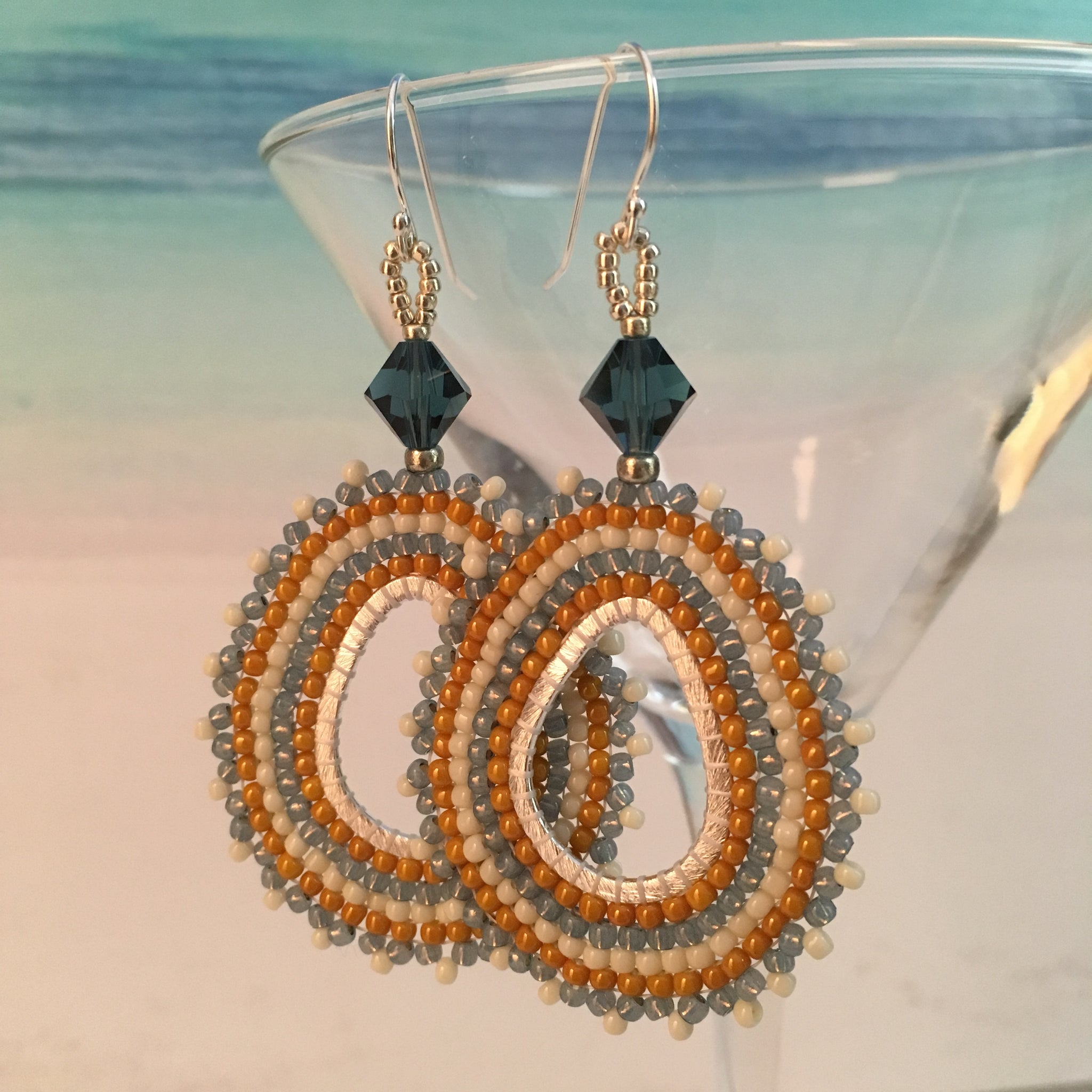 Misty Blue, Yellow and Cream on Oval Hoops with Swarovski™ Crystals