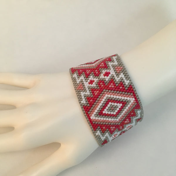Southwest Style Red, Grey, White and Peach Peyote Bracelet