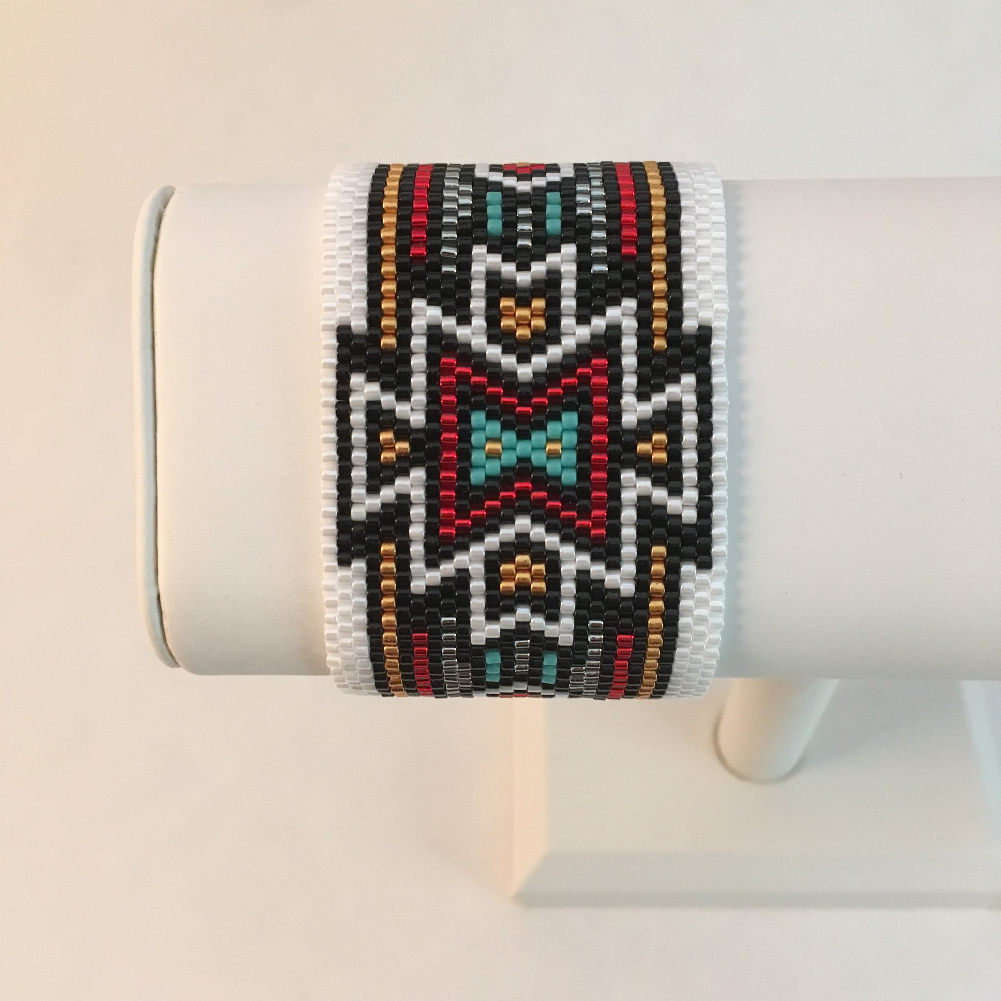 Southwest Style in White, Black, Red, Gold and Turquoise
